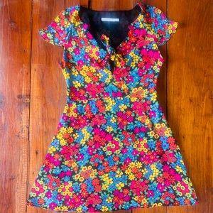 69's inspired neon floral colorful mini dress zara